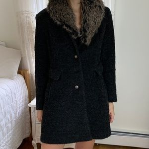 Vintage Gray Black Wool Fur Collar Coat